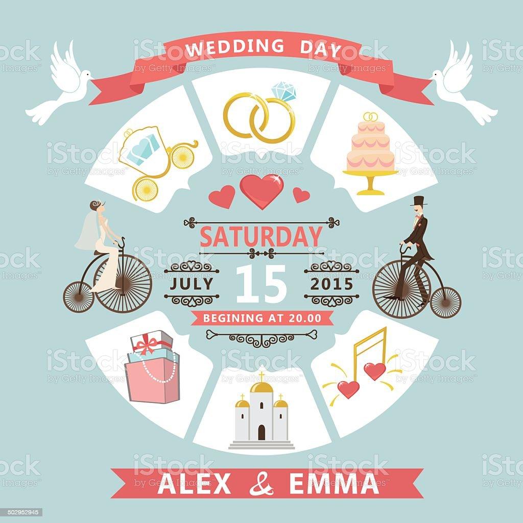 Wedding invitation in infographic style. Bride,groom on retro bi vector art illustration