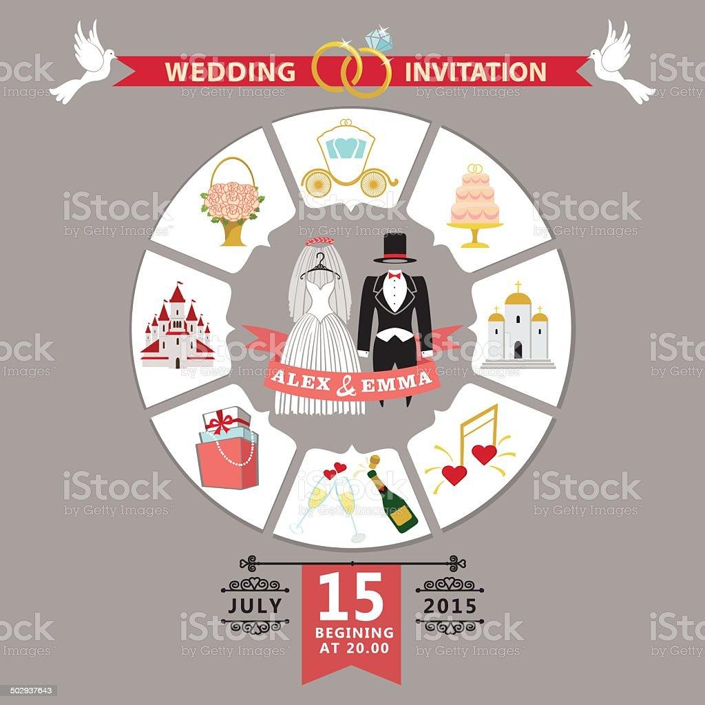 Wedding invitation in infographic style.Retro wedding wear vector art illustration