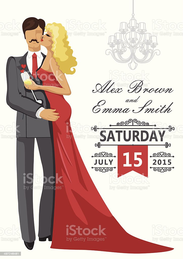Wedding invitation Kissing Couple  with chandeliers vector art illustration