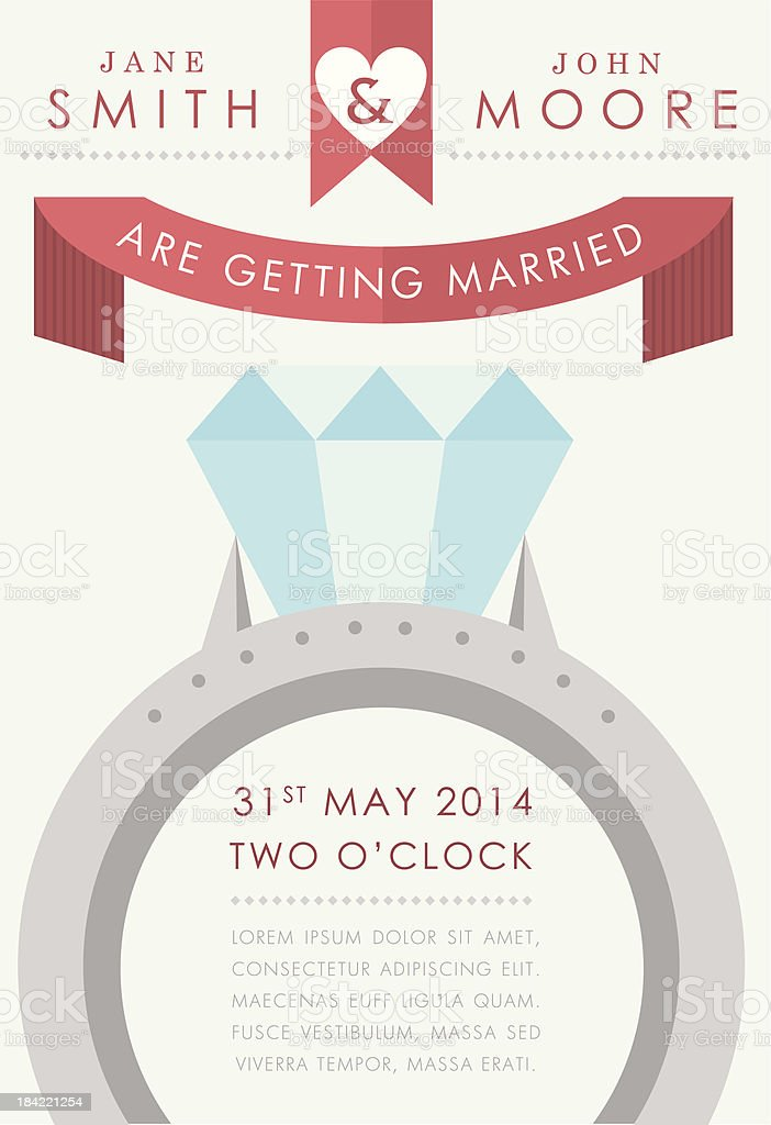 Wedding invitation large ring style vector art illustration