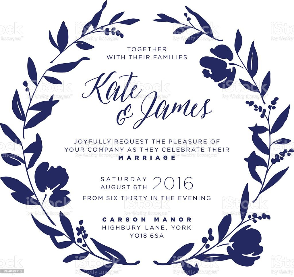 Wedding Invitation - Navy Floral Wreath vector art illustration