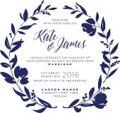 Wedding Invitation - Navy Floral Wreath