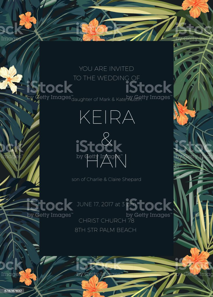 Wedding invitation or card design with exotic tropical flowers and vector art illustration
