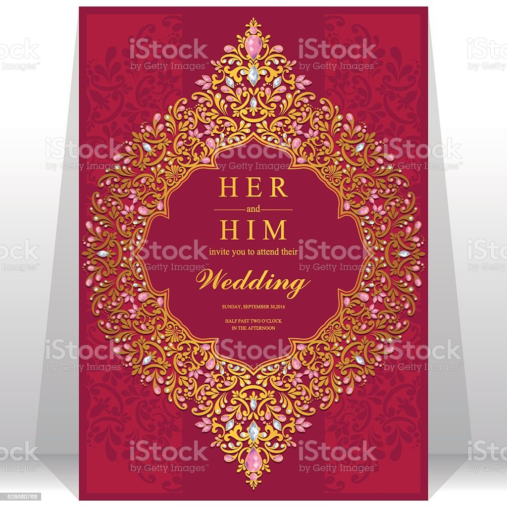 Wedding Invitation Or Card With Abstract Background stock vector art ...