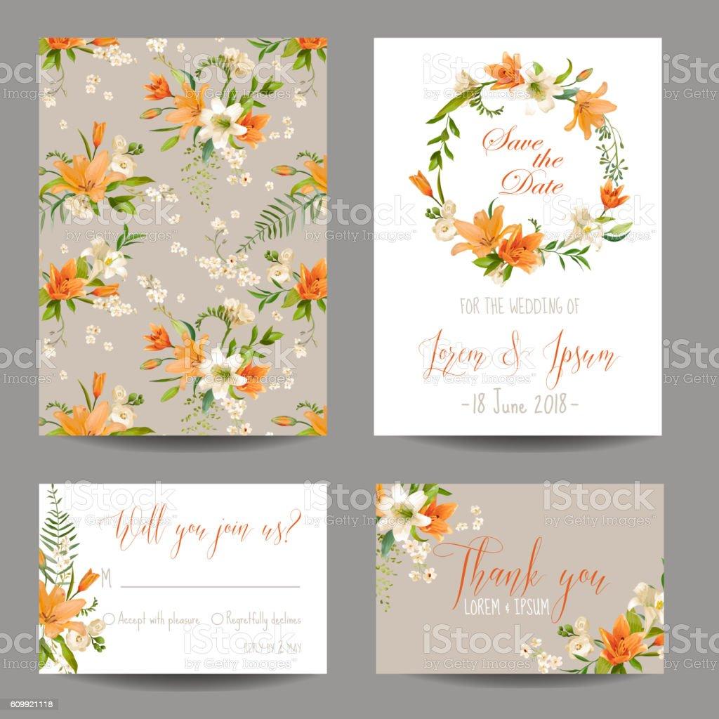 Wedding Invitation or Congratulation Card Set Autumn Lily Floral Theme vector art illustration