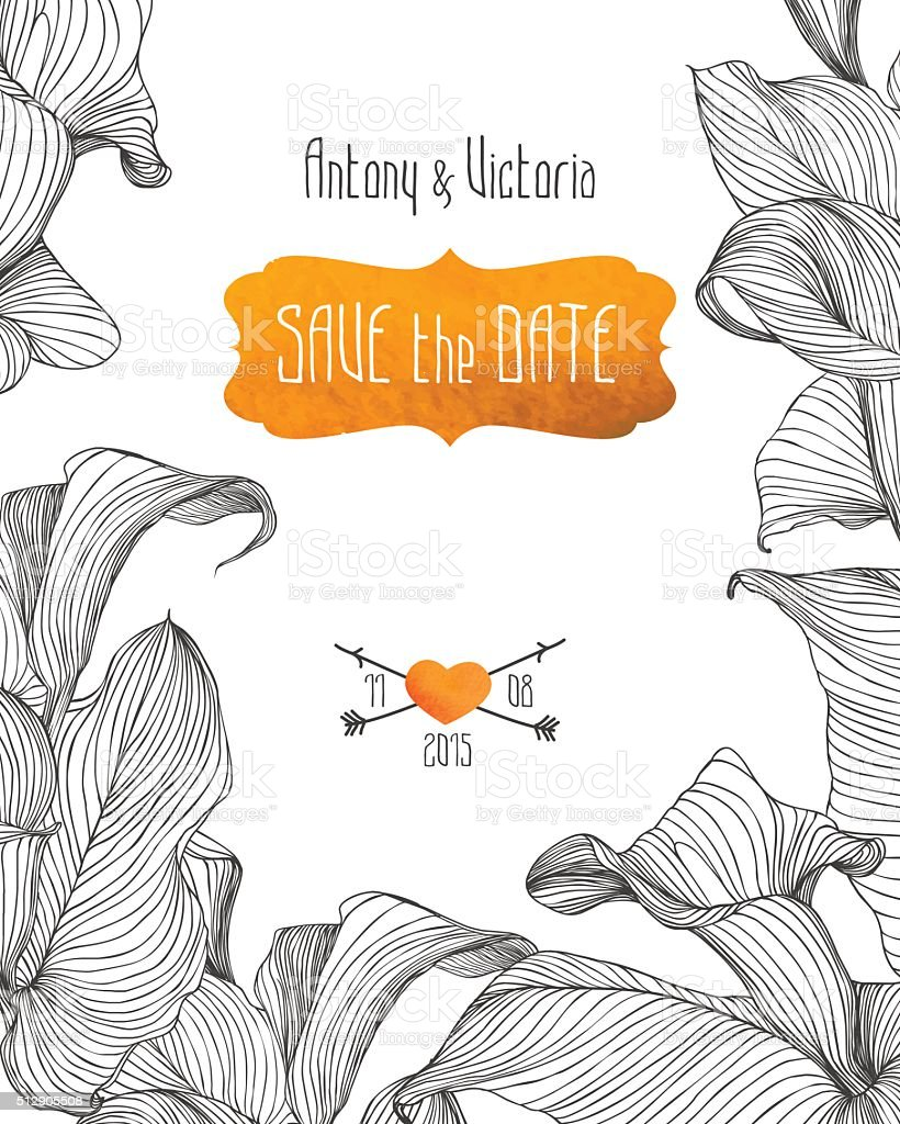 Wedding invitation 'save the date' template vector art illustration