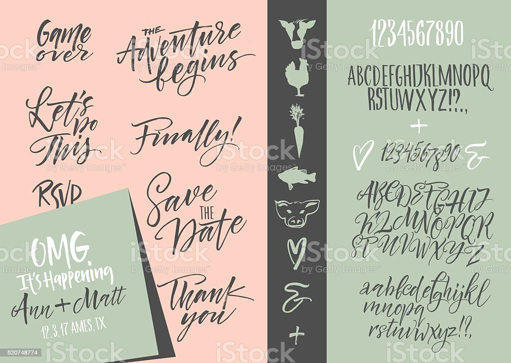 Wedding invitation set & Vector alphabets vector art illustration