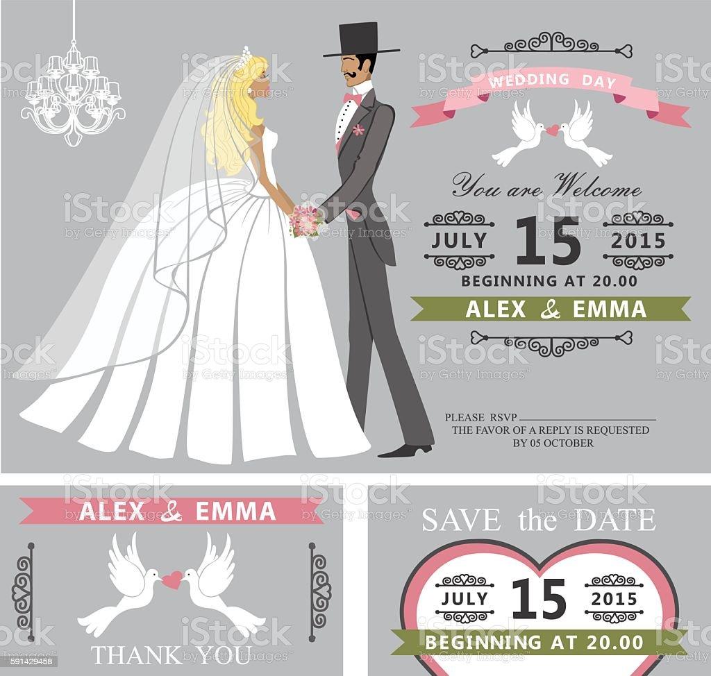 Wedding invitation set.Retro Cartoon bride and groom vector art illustration