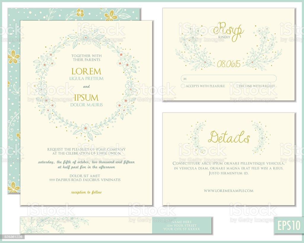 Wedding Invitation Suite vector art illustration