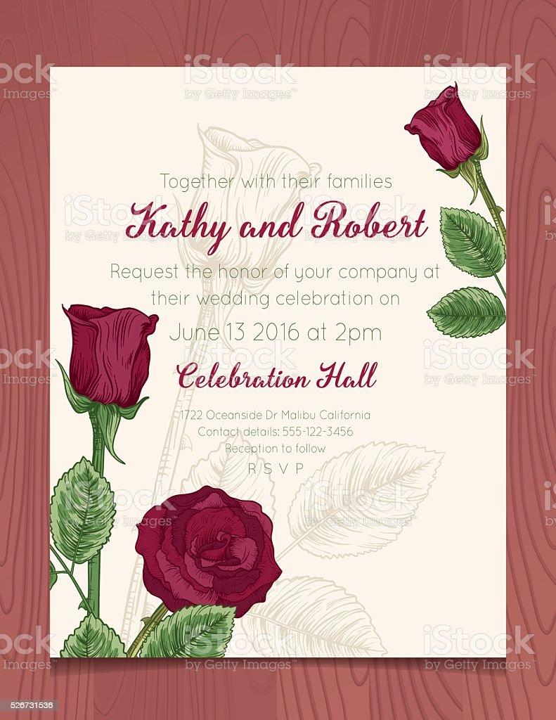 Wedding Invitation Template with Botanical Roses On Wood Background vector art illustration