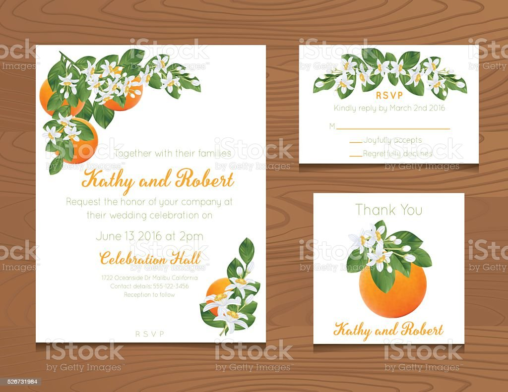 Wedding Invitation Template with Oranges On Wood Background vector art illustration