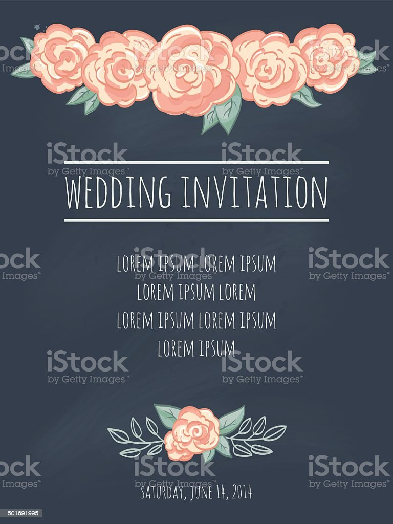 Wedding invitation template with roses on blackboard royalty-free stock vector art