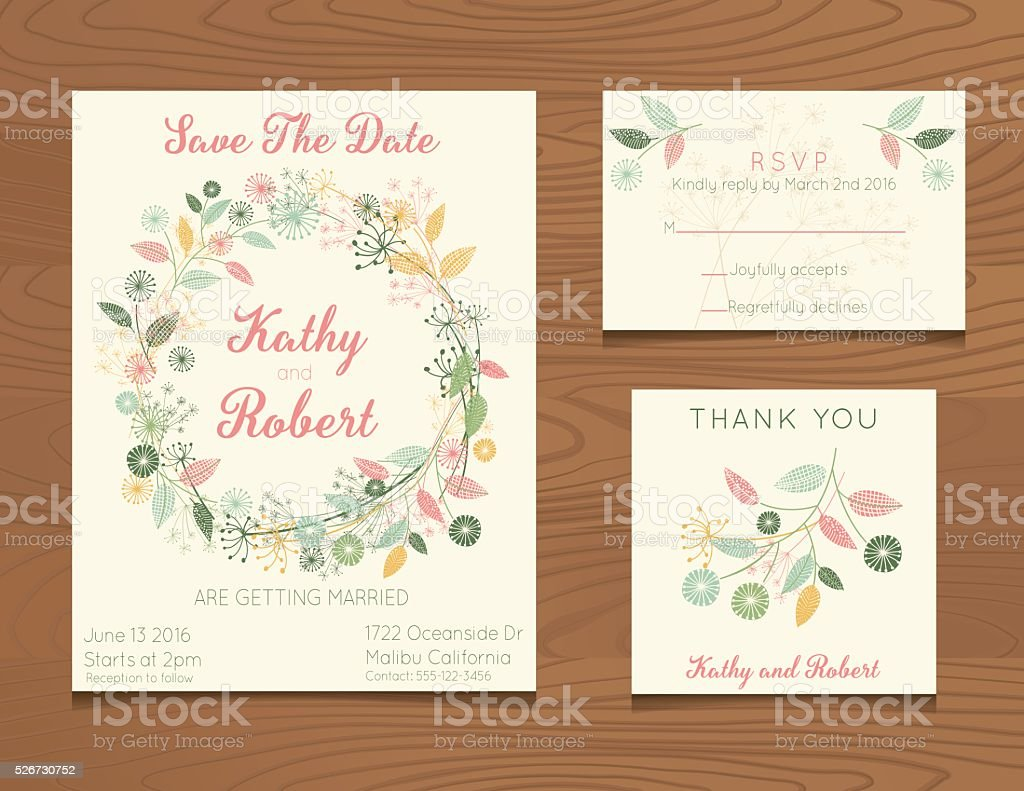 Wedding Invitation Template with Wildflowers On Wood Background vector art illustration