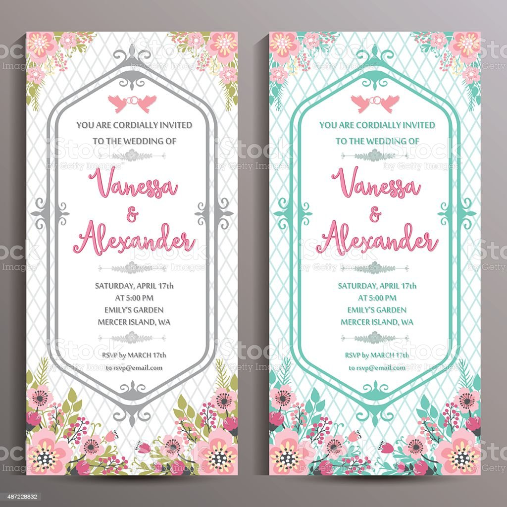 Wedding Invitation. Two floral vertical cards, size is 10x21 cm vector art illustration