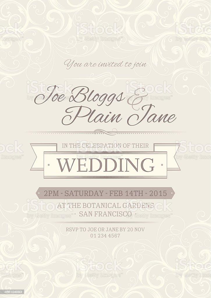 Wedding invitation vector art illustration