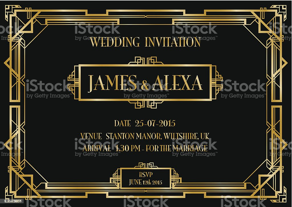 wedding invitation vector art illustration
