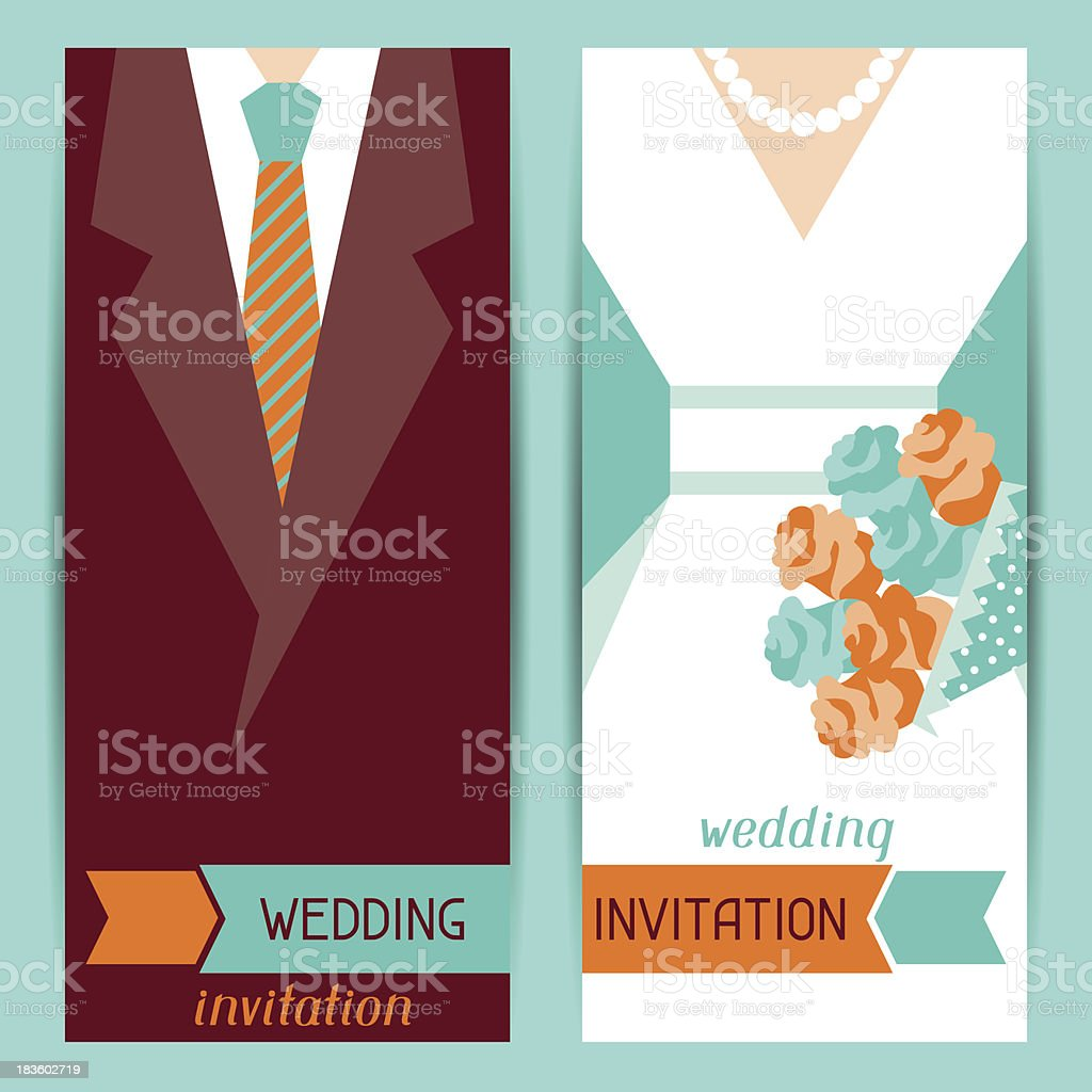 Wedding invitation vertical cards in retro style. royalty-free stock vector art