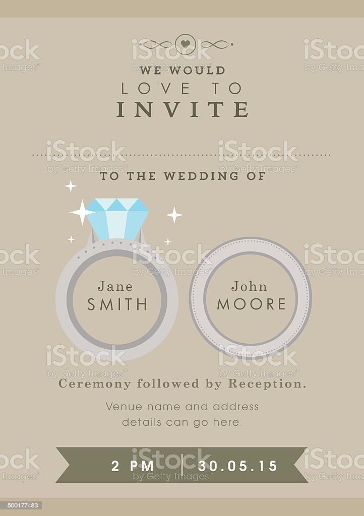 Wedding invitation wedding ring themes vector art illustration