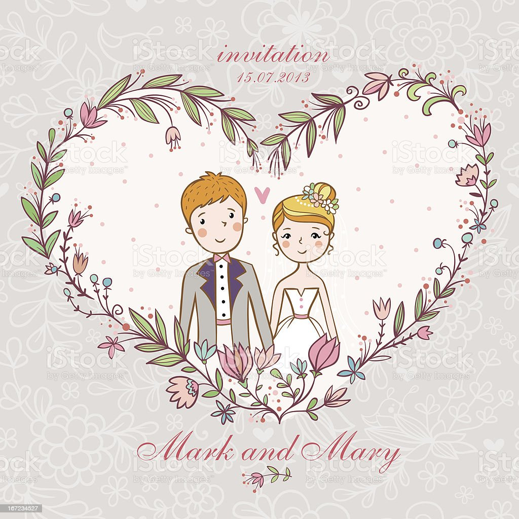 Wedding invitation with bride, groom, flower. royalty-free stock vector art