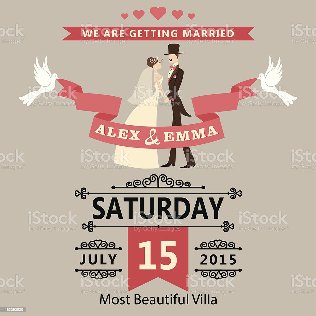 Wedding invitation with cartoon bride and groom.Retro style vector art illustration