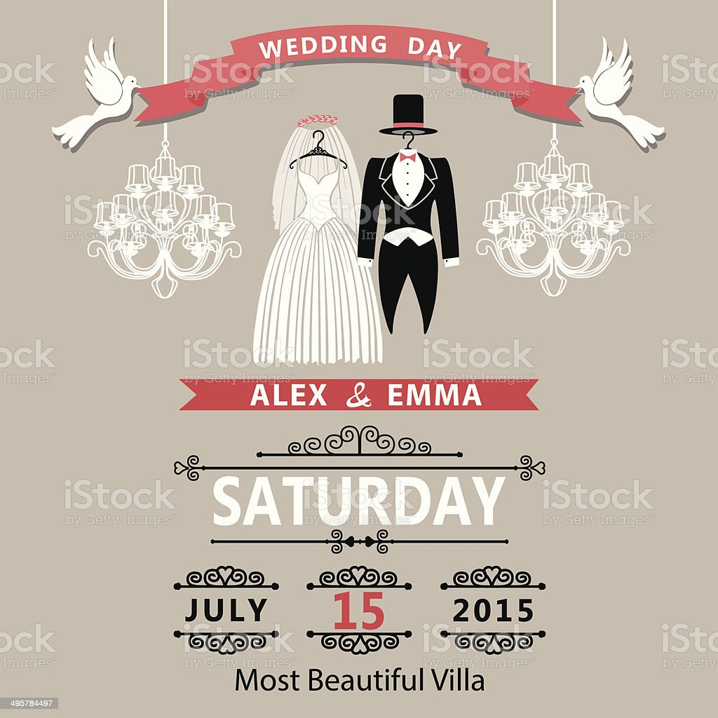 Wedding invitation with clothing groom and bride.Vintage vector art illustration