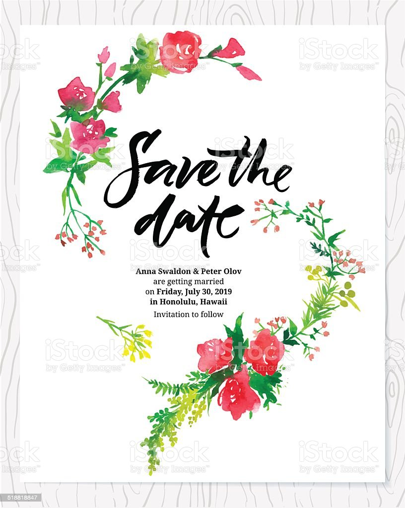 Wedding invitation with flowers vector art illustration
