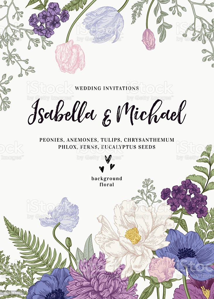 Wedding Invitation With Flowers Stock Vector Art Istock