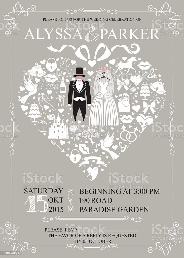 Wedding invitation with heart composition.Wedding wear vector art illustration