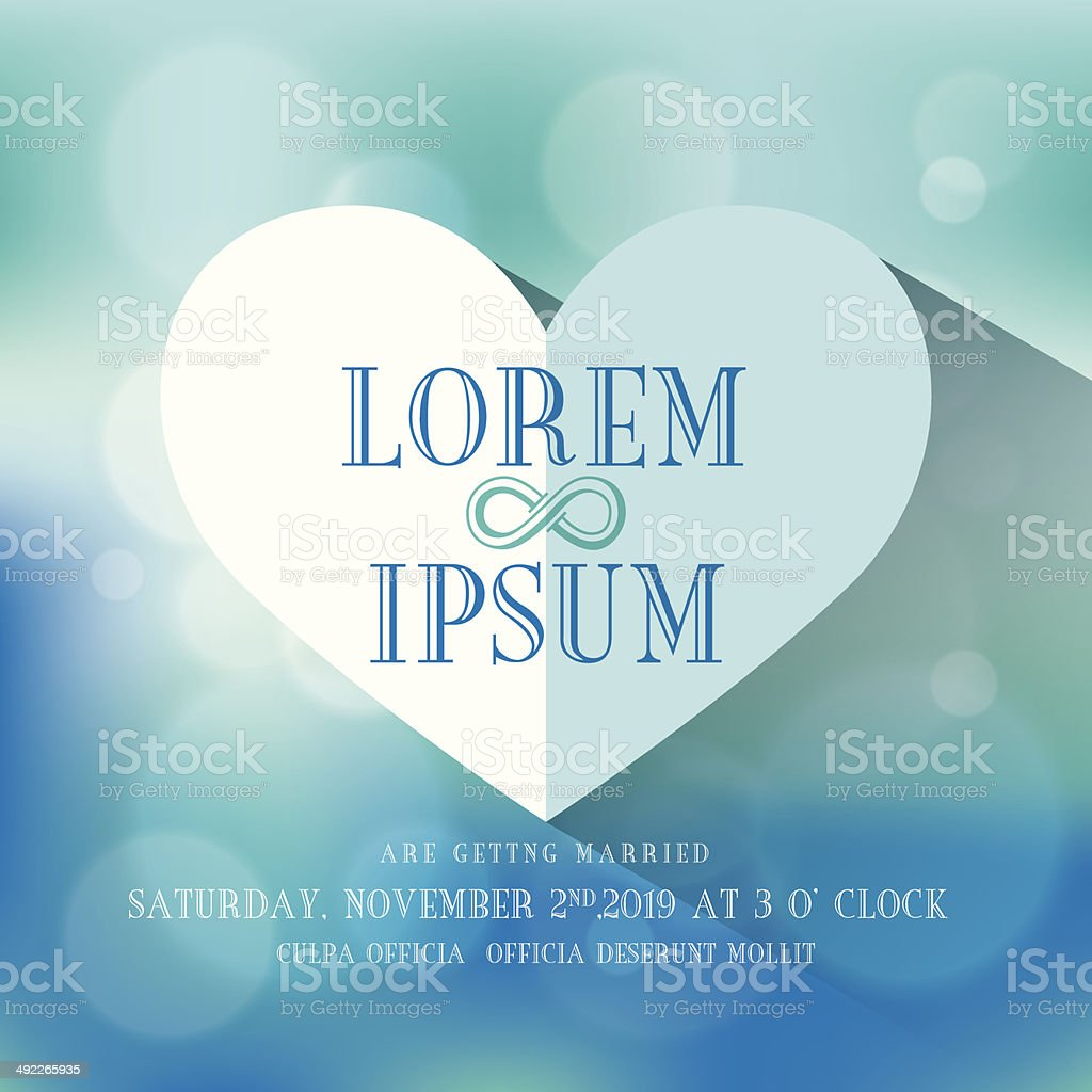 Wedding invitation with Heart shape on blurry background royalty-free stock vector art
