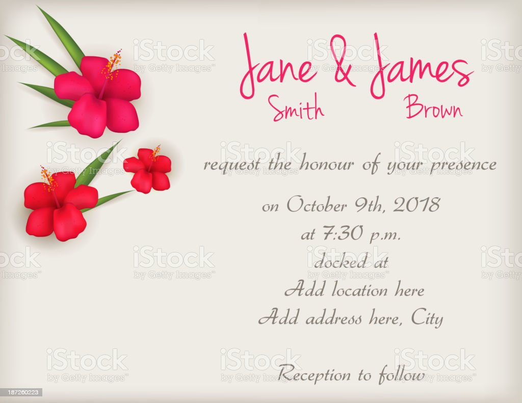 Wedding Invitation With Hibiscus Flowers Stock Vector Art 187260223