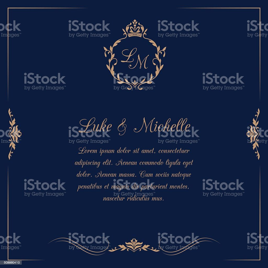 Wedding invitation with monogram vector art illustration