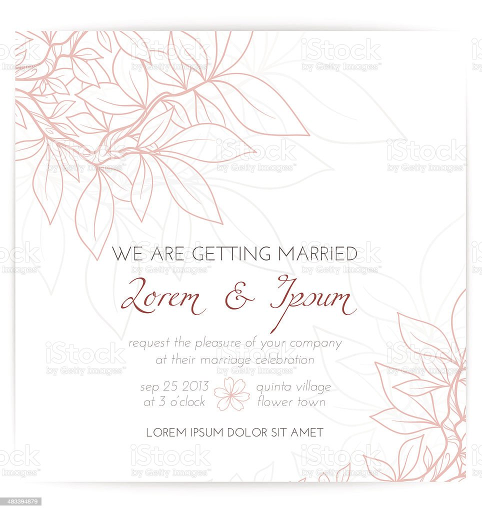 Wedding invitation with pink leaves vector art illustration