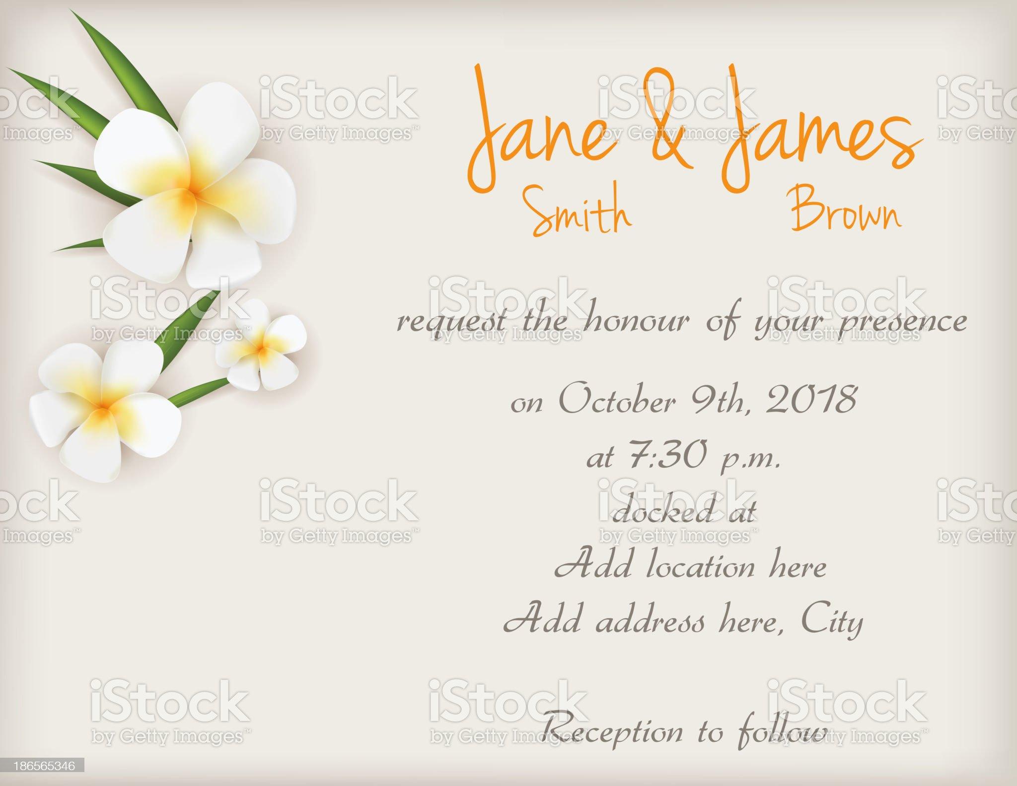 Wedding invitation with plumeria flowers royalty-free stock vector art