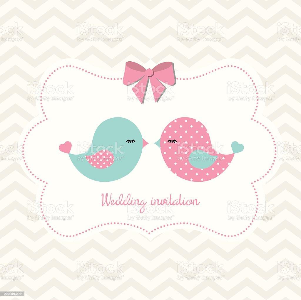 Wedding invitation with two cute birds, illustration vector art illustration