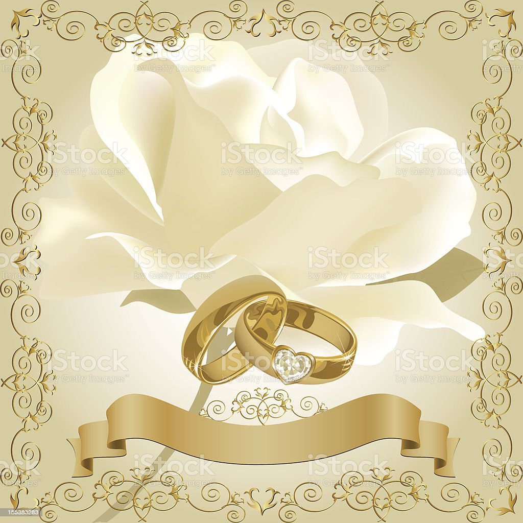 Wedding Invitation With White Rose And Golden Diamond Rings stock
