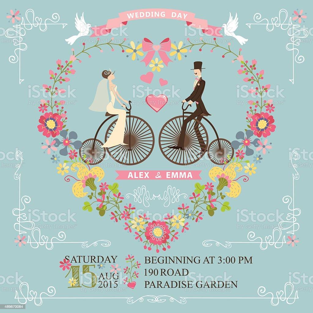 Wedding invitation.Bride,groom on retro bike,floral heart vector art illustration