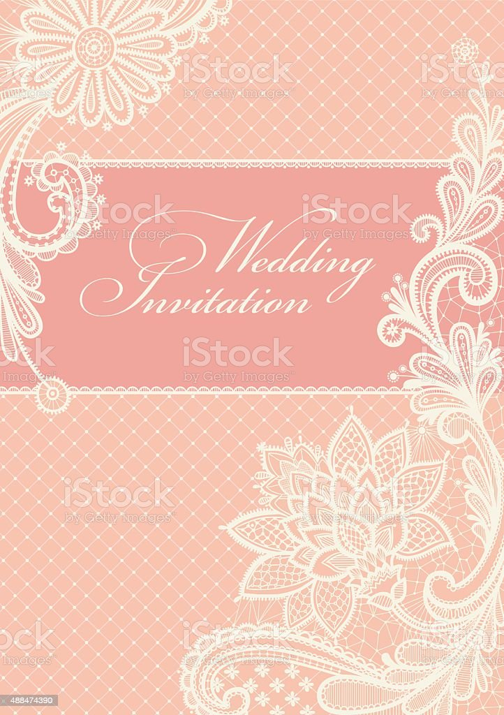 Wedding invitations and announcements with vintage lace background. vector art illustration