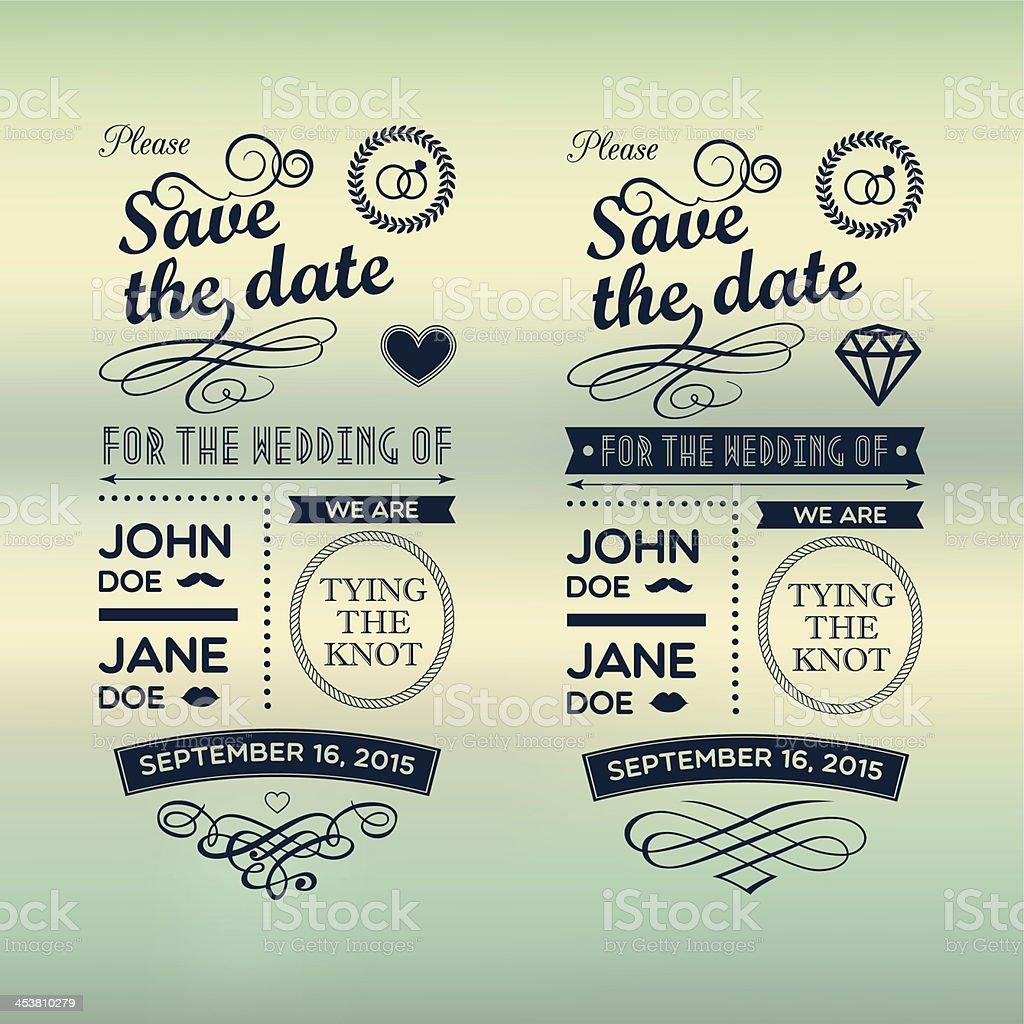 Wedding invitations badges vector art illustration