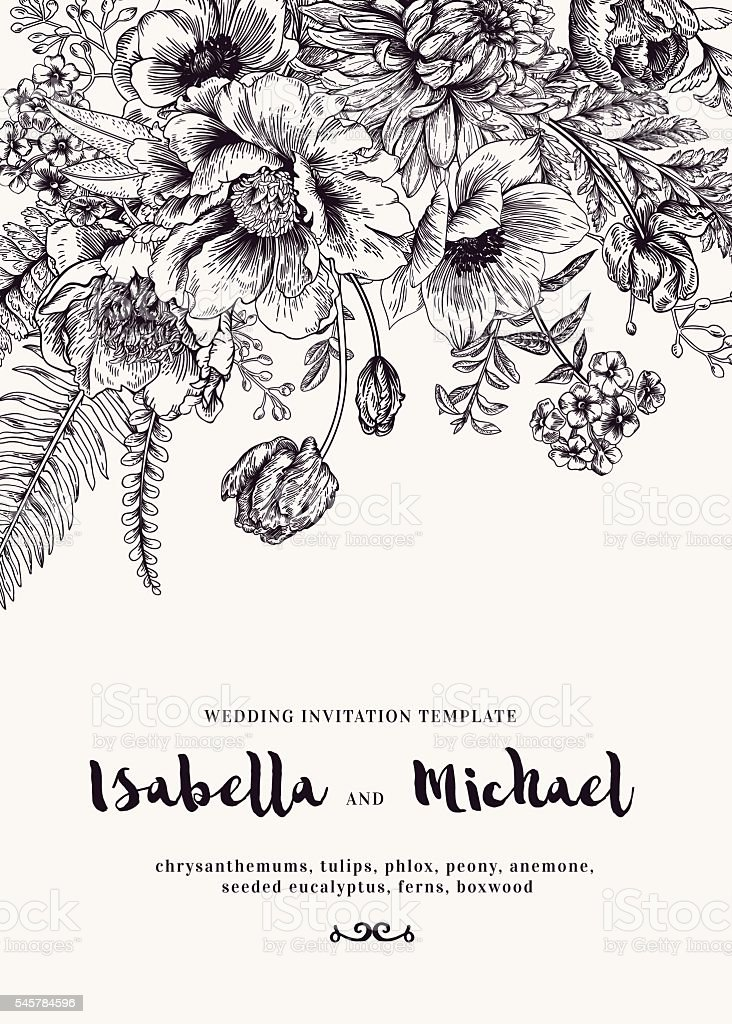 Wedding invitations with summer flowers. vector art illustration