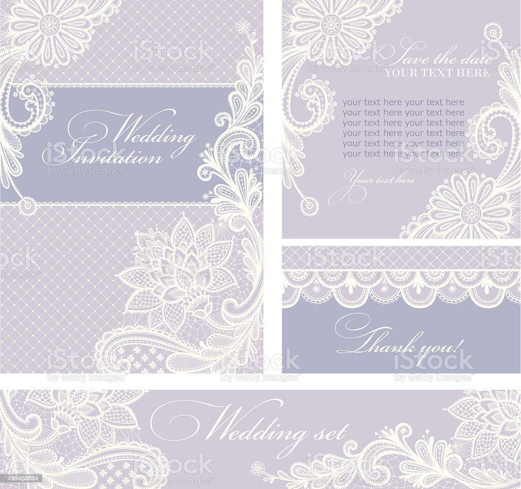 Wedding invitations with vintage lace background. vector art illustration