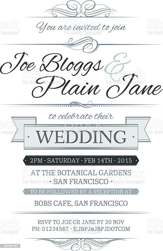 Wedding Invite vector art illustration