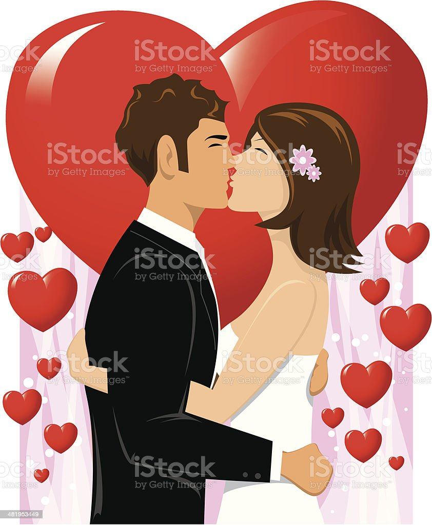 Wedding Kiss royalty-free stock vector art