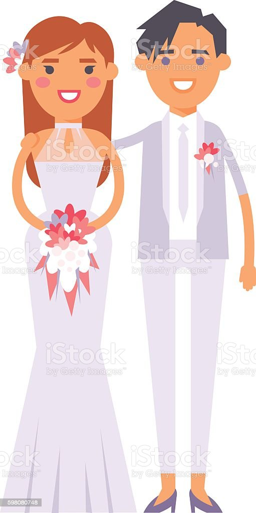 Wedding lesbian couples vector characters vector art illustration