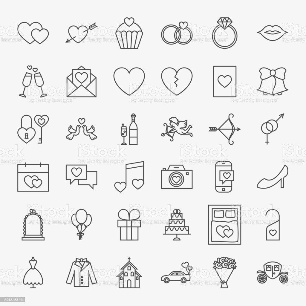 Wedding Line Icons Set vector art illustration