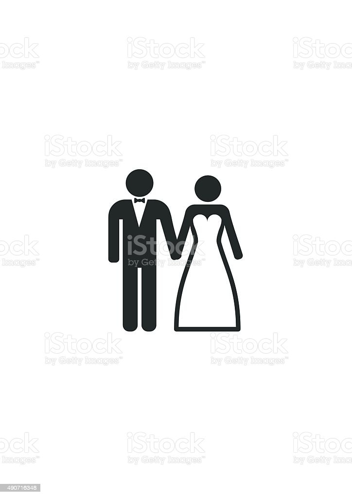 Wedding Married couple Icon. Bride and Groom. vector art illustration