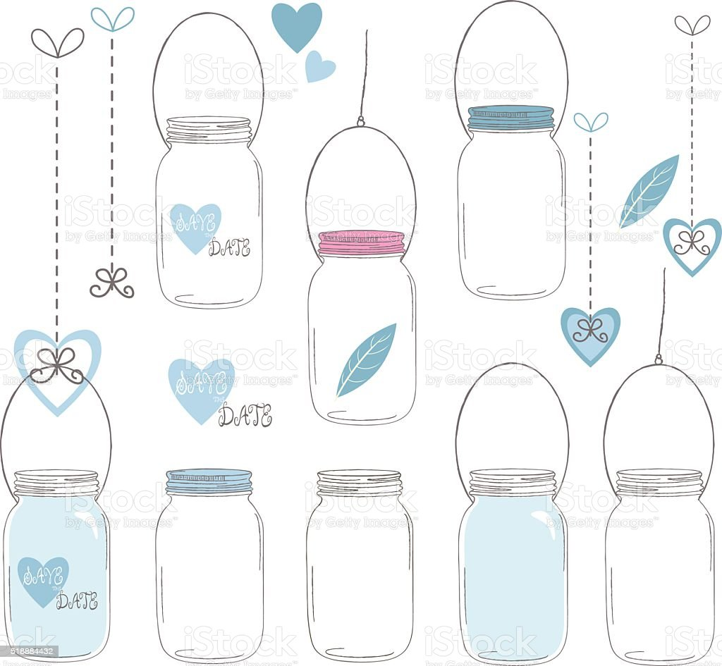 Wedding Mason Jar Collections vector art illustration