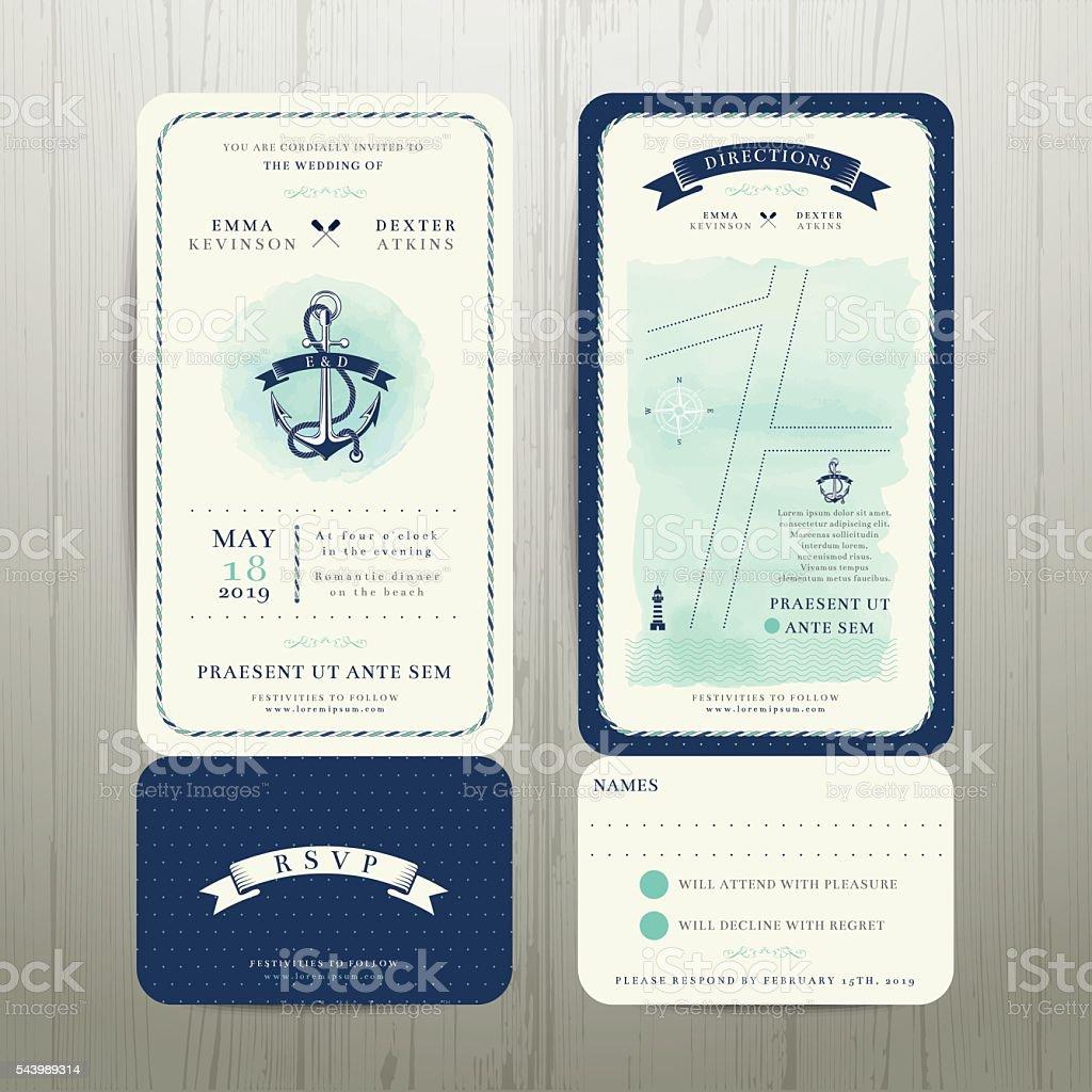 Wedding on the beach watercolour nautical theme with rsvp card vector art illustration