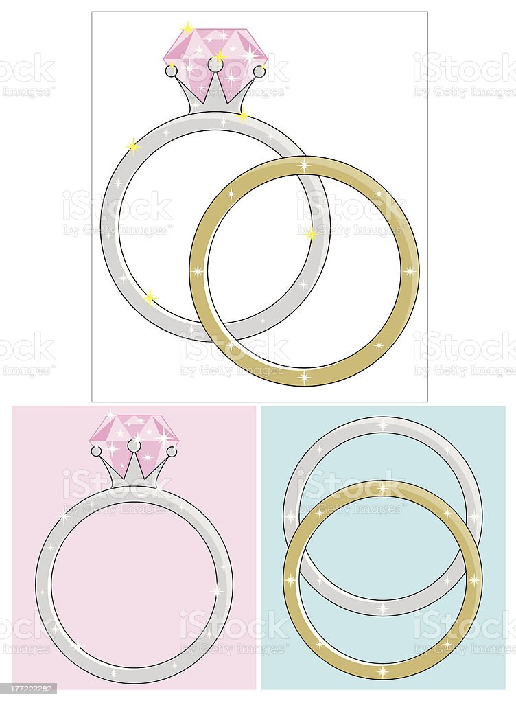 Wedding or Engagement Rings Illustrations royalty-free stock vector art
