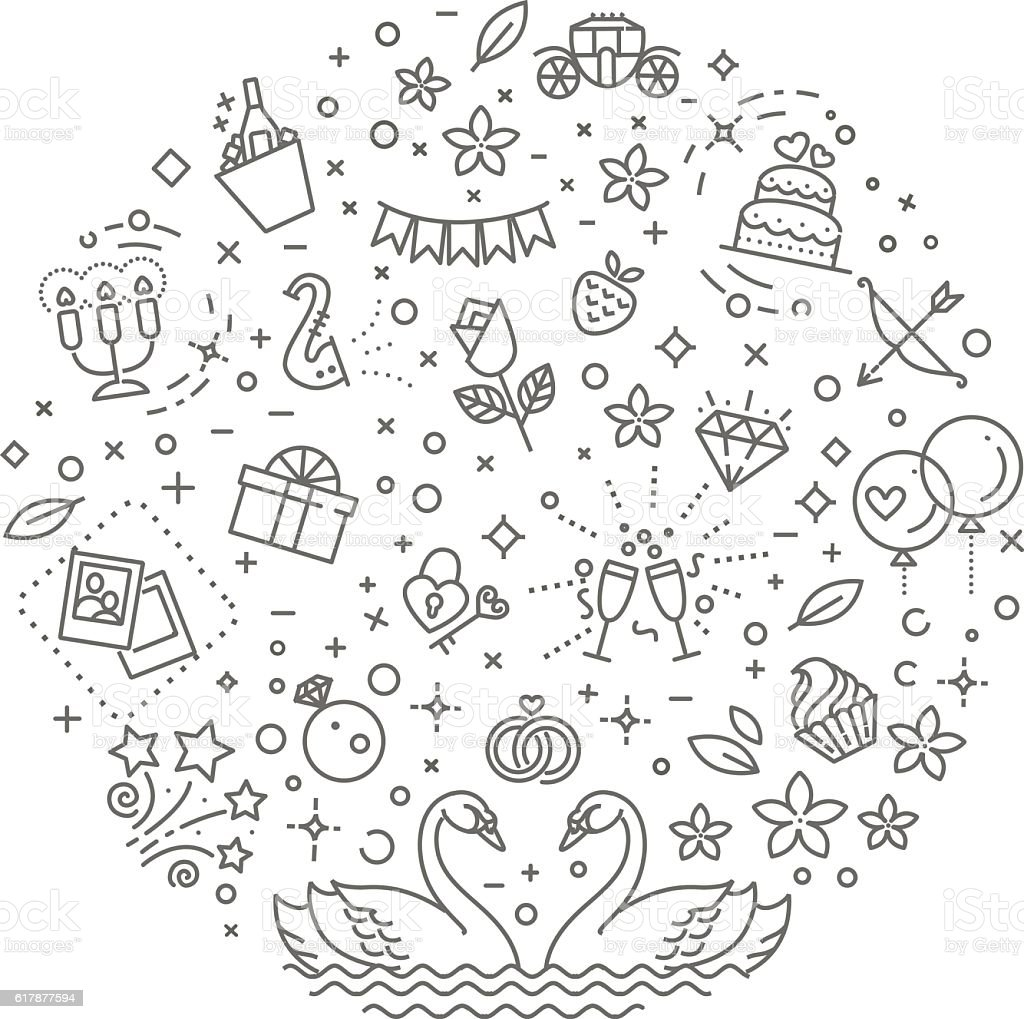 wedding outline symbols. Vector illustration vector art illustration