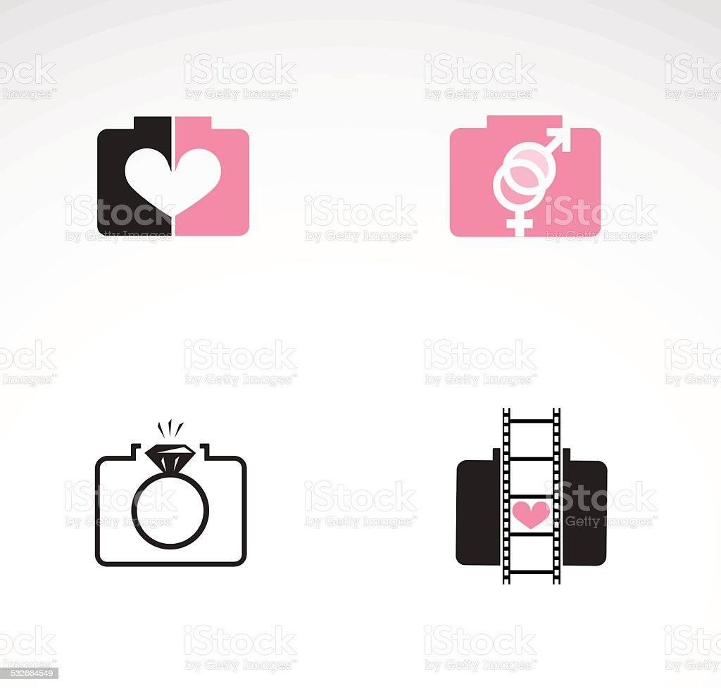 Wedding photographer creative design pack. vector art illustration